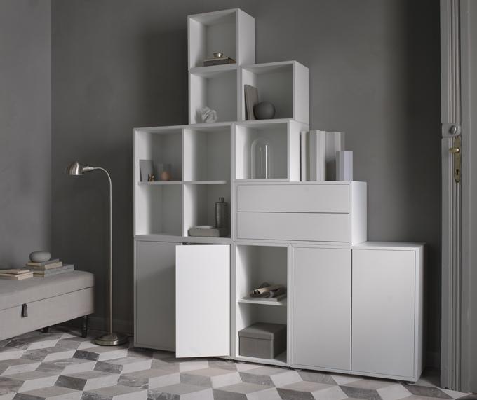 IKEA EKETskap kombination m ben vit