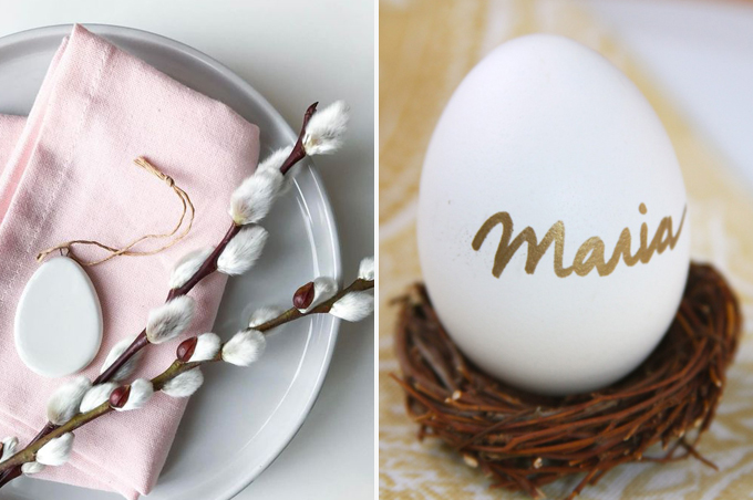 Easter table setting in pastel colours
