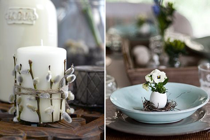 Easter table settings with egg and candle