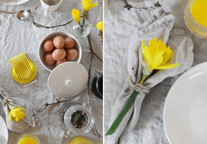 Paskdukning i gult och beige