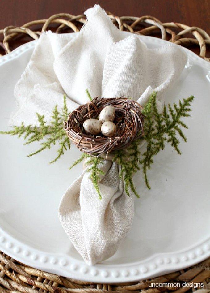 Birds nest napkin rings for Easter