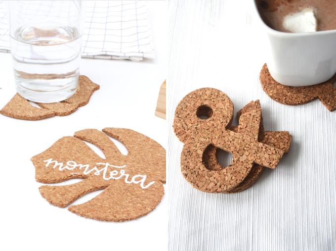 monstera cork coaster