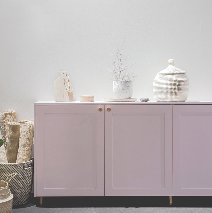 A.S.Helsingo Sideboard Blush Rose with Parasol copper handles2
