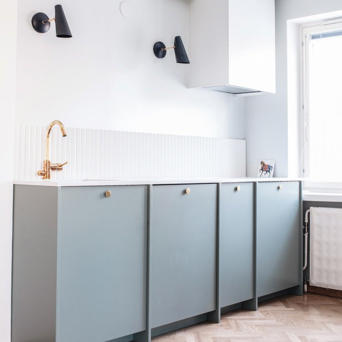 A.S.Helsingo Ingaro Water Green kitchen Parasol brass handles 1