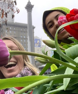 Tulips Rain Rainy Day Smiles Union Square SF San Francisco CA By Miss P
