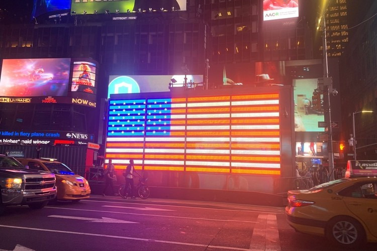 US Flag at Times Square By Miss P
